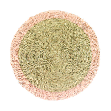 Rattan Border Placemat, Peach Pink