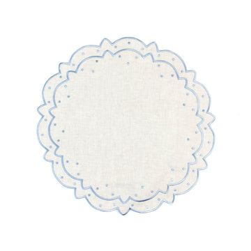 Scalloped Dot Placemat, Ivory x Periwinkle