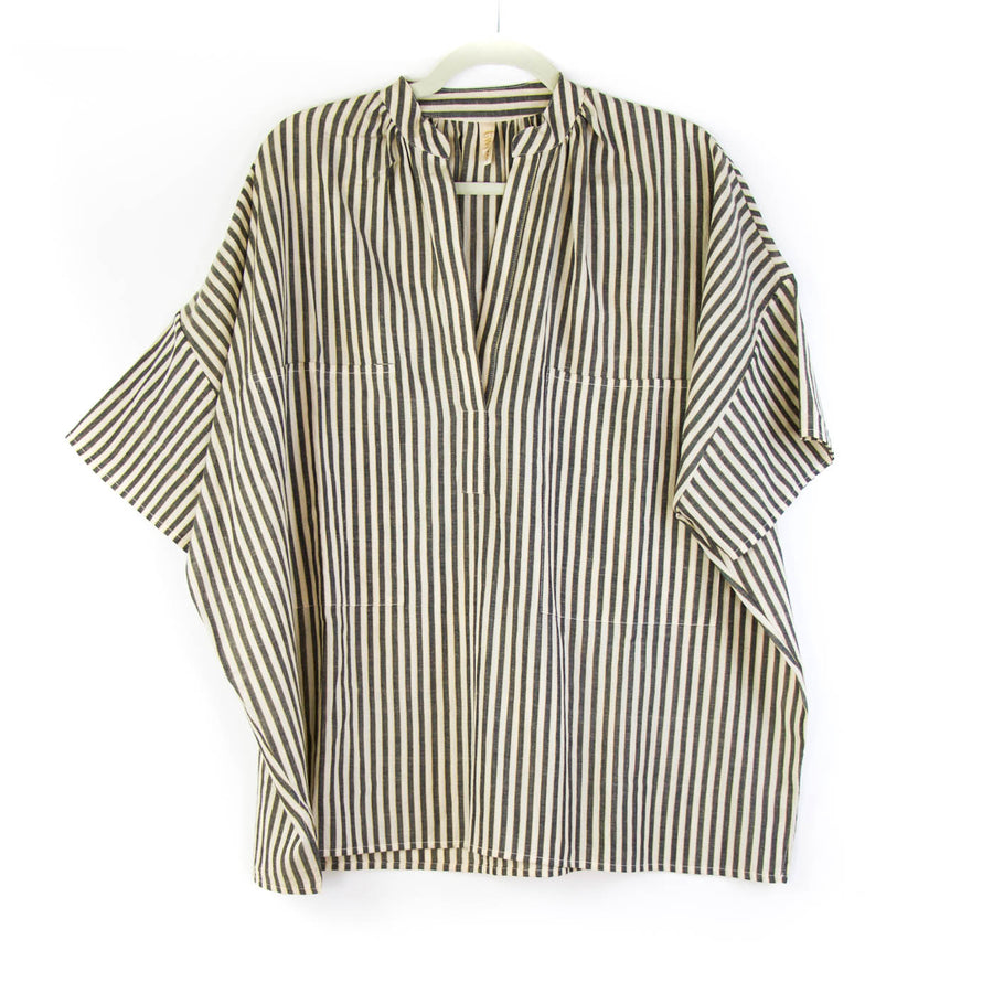 Stripe Pocket Shirt, Beige x Black