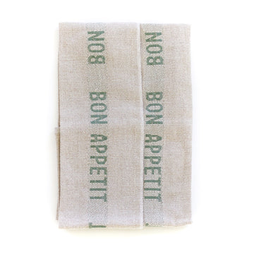 Bon Appetit Tea Towel, Natural x Green