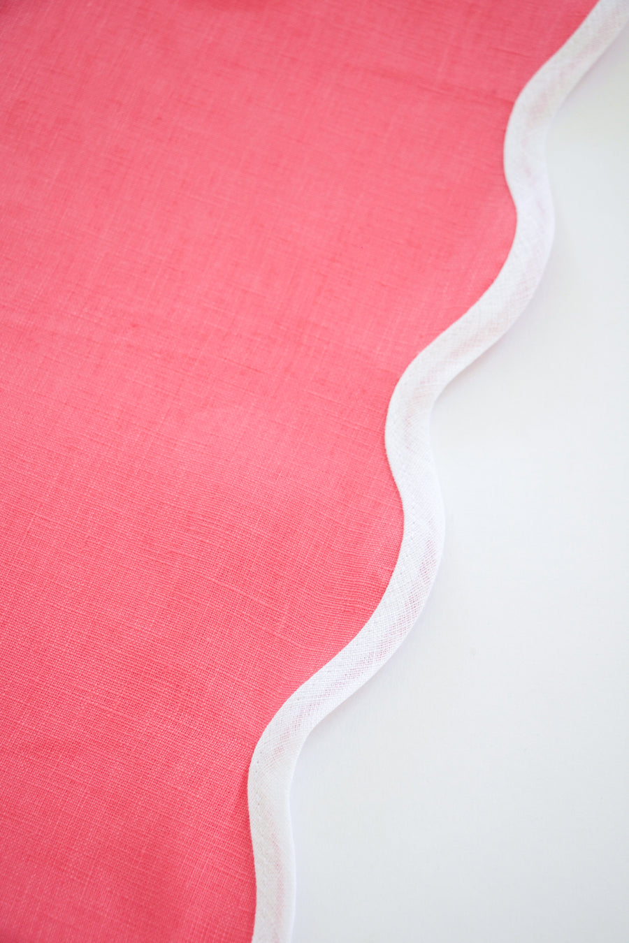 Linen Scalloped Square, Hibiscus Pink