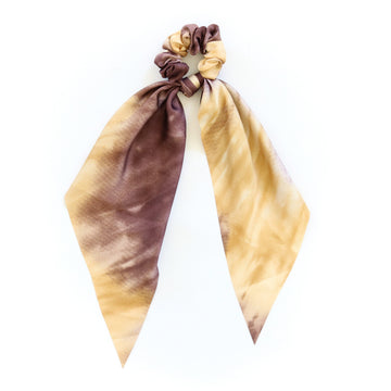 Silk Hair Tie, Marigold x Brown