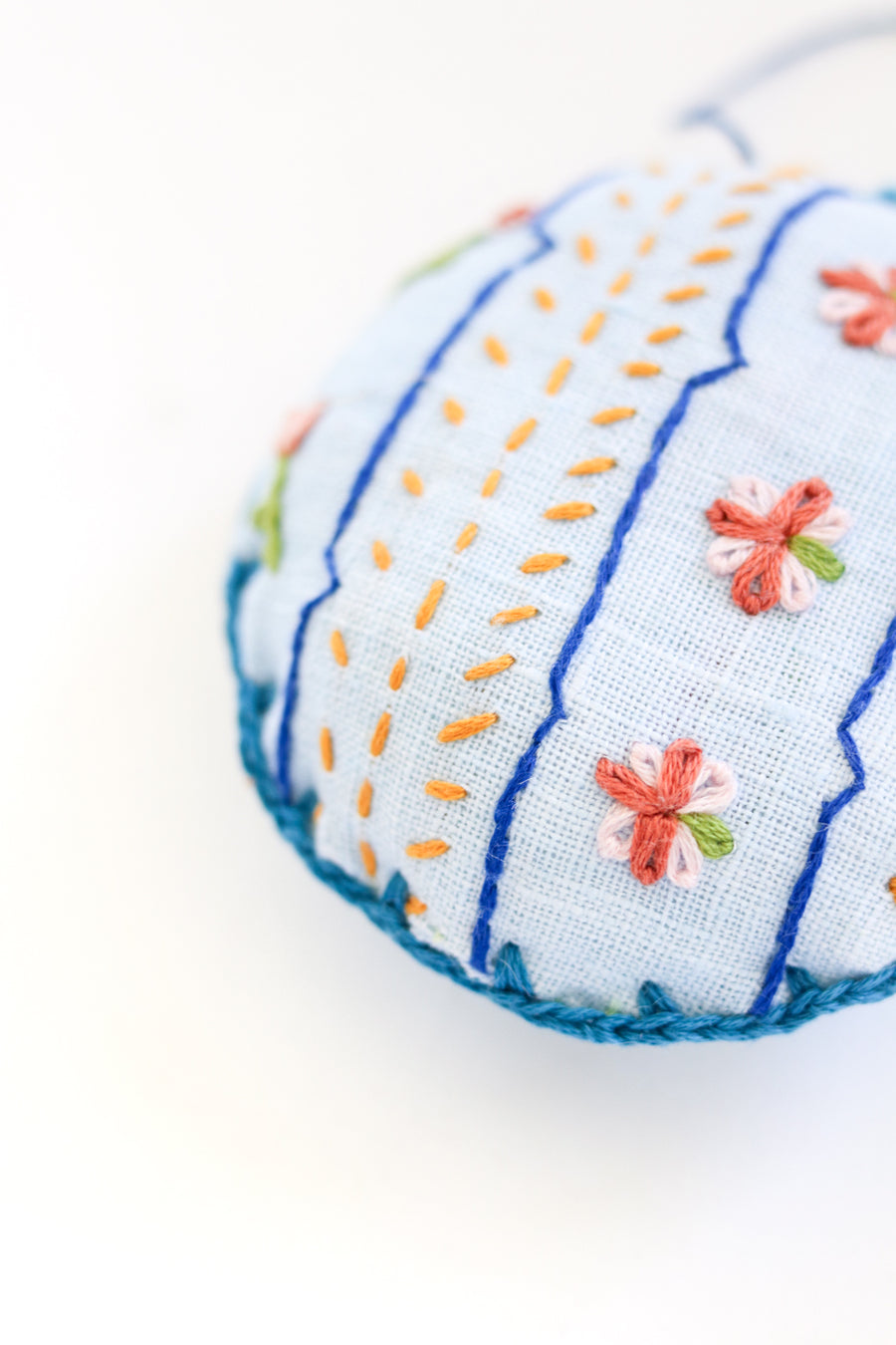 Hand Embroidered Hibiscus Ornament