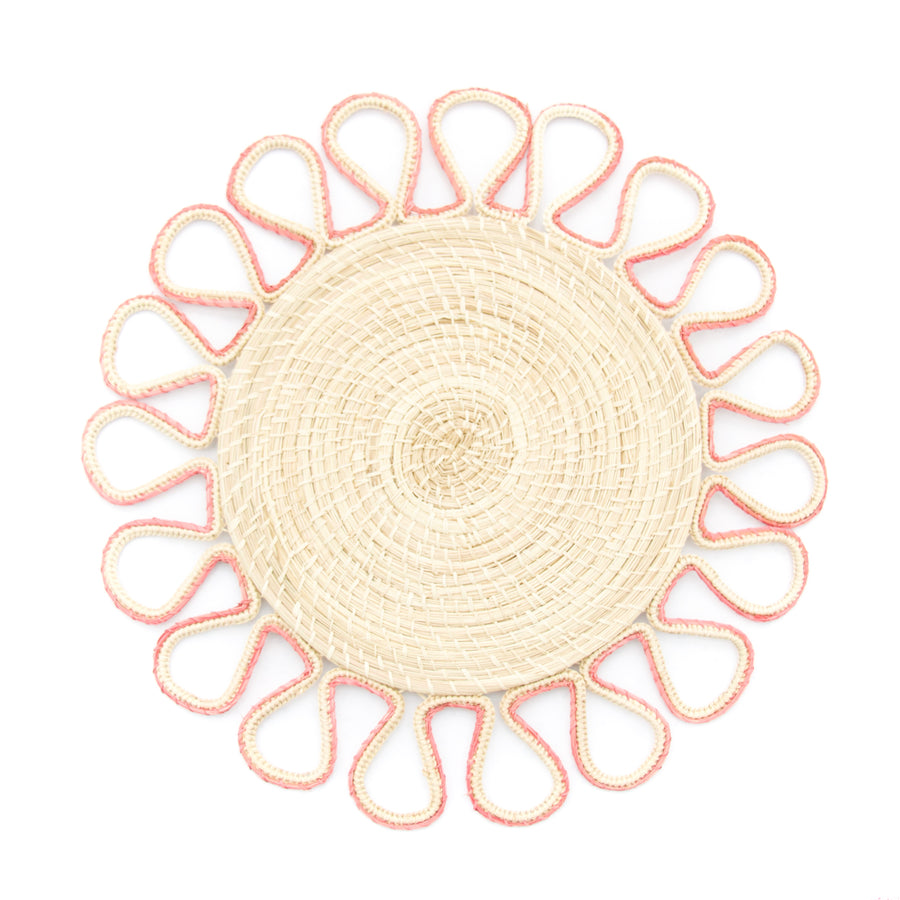 Woven Loop Palm Placemat, Flamingo
