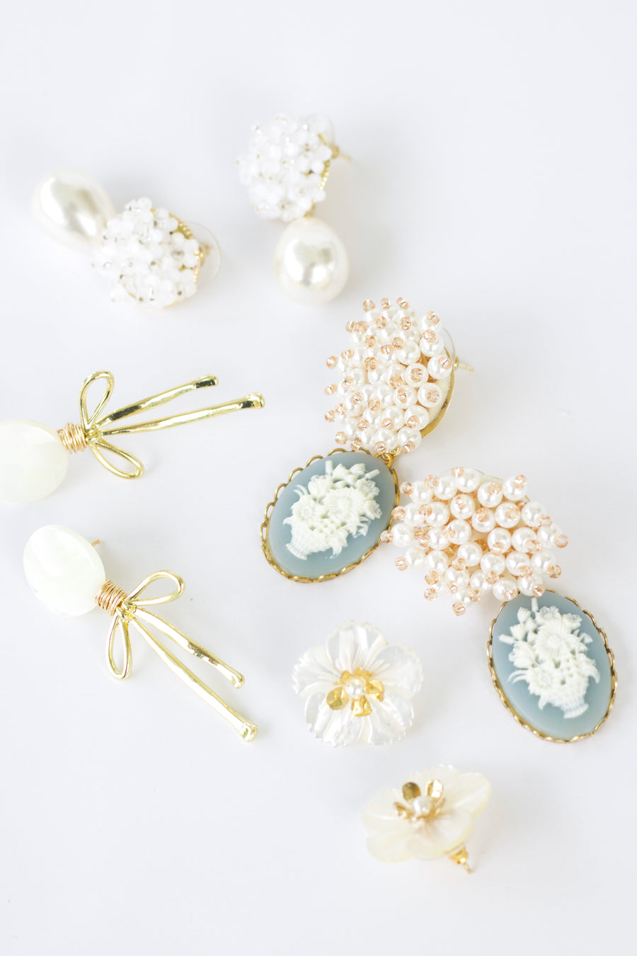 White Floral Bouquet + Pearly Drop Earring