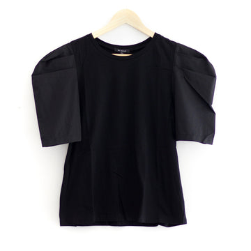 Satin Sleeve Top, Black