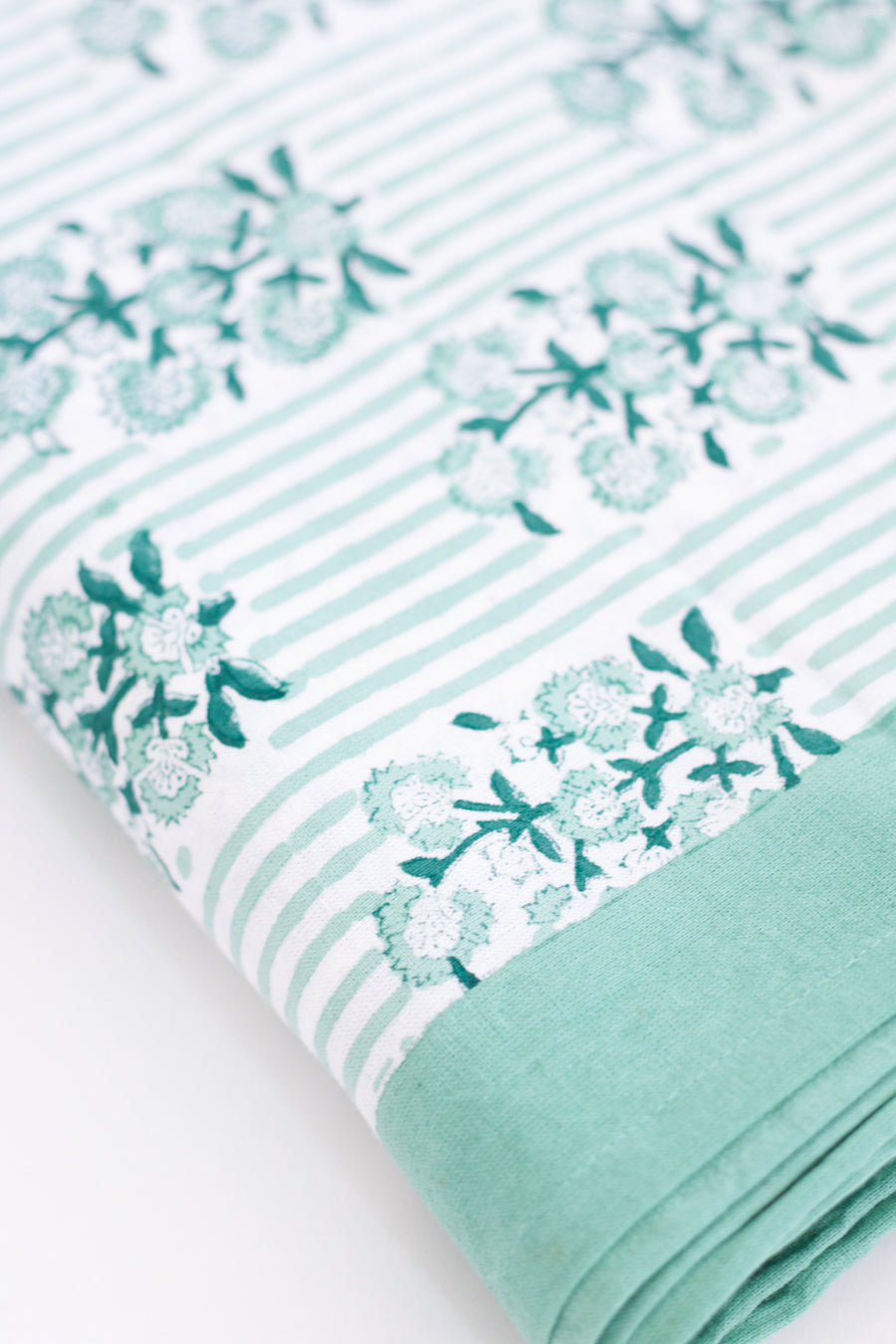 Block Print Stripe x Floral Small Tablecloth, Green