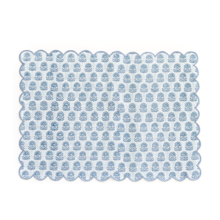 Block Print Floral Scalloped Placemat, Blue