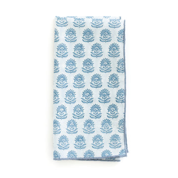 Block Print Floral Dinner Napkin, Blue