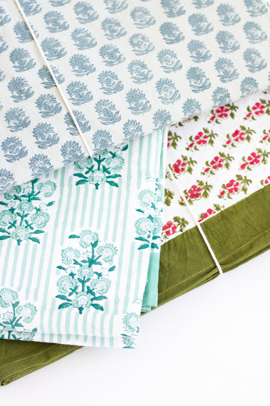 Block Print Floral Large Tablecloth, Green