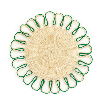 Woven Loop Palm Placemat, Green