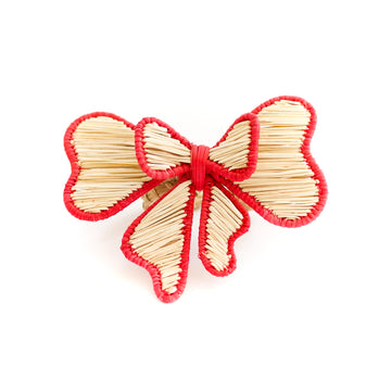 Bow Rattan Napkin Ring, Red