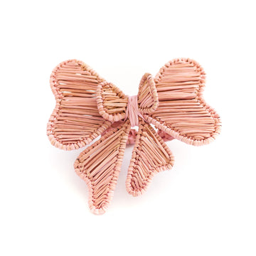 Bow Rattan Napkin Ring, Soft Pink