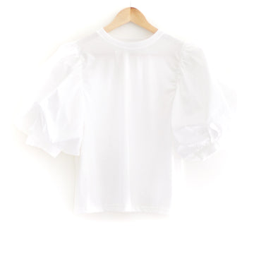 Poplin Puff Sleeve Top, White