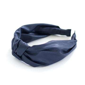 Leather Knot Headband, Navy