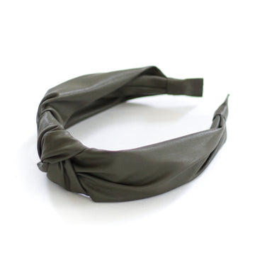 Leather Headband, Olive