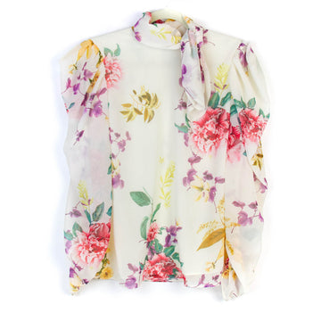 Garden Rose Tie-Neck Blouse