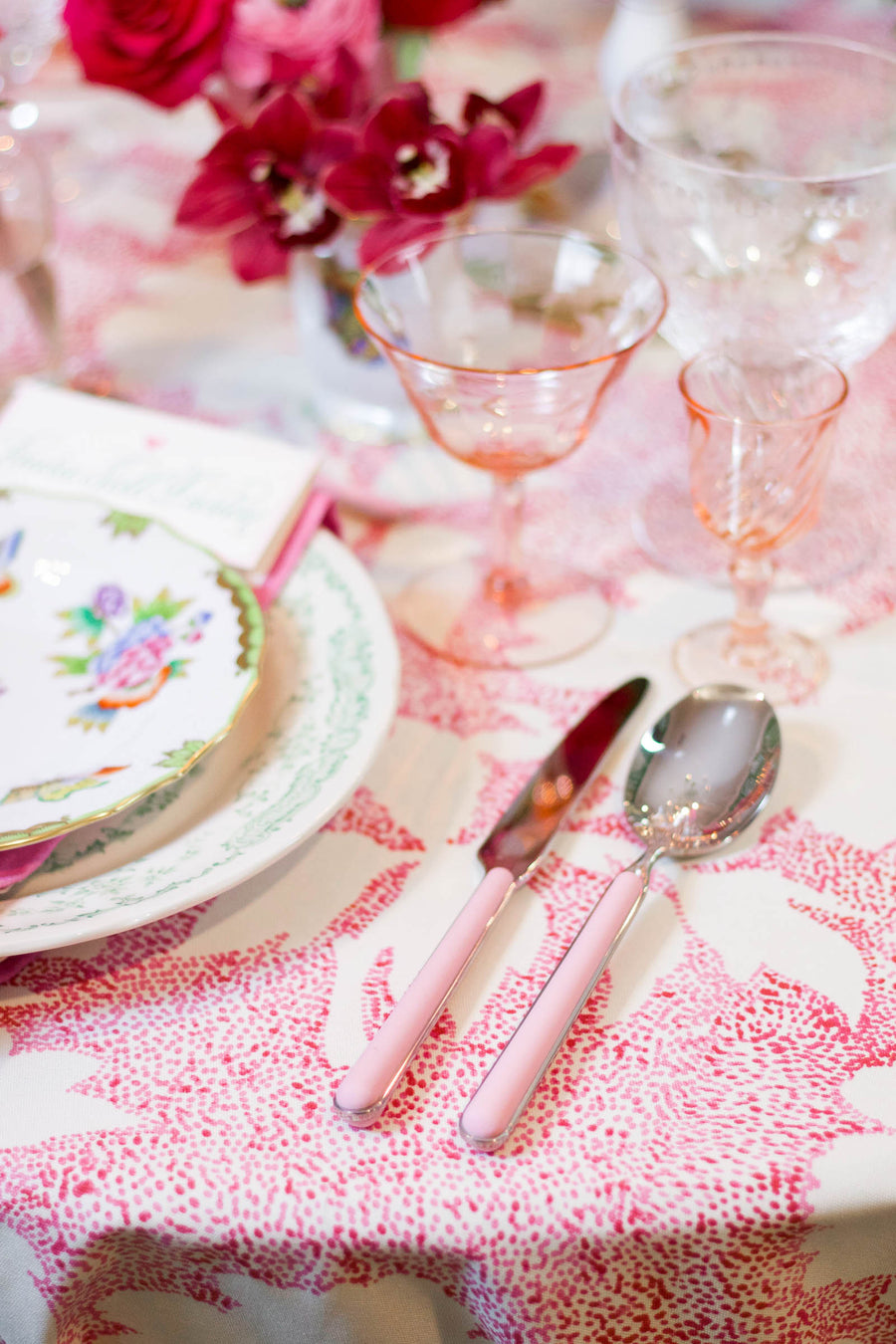 Pink Flatware, Five Piece Setting
