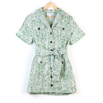 Ivy Woodgrain Dress, Green x White
