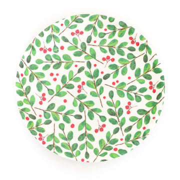 Melamine Snack Plate, Holly Sprig