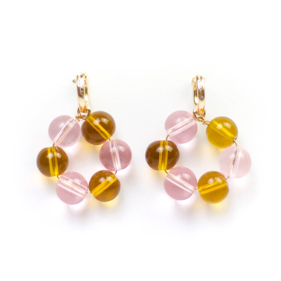 Honey & Rose Glass Hoop Earrings