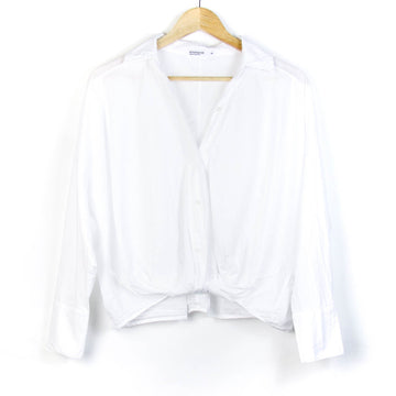 Poplin Long Sleeve Front Twist Shirt, White
