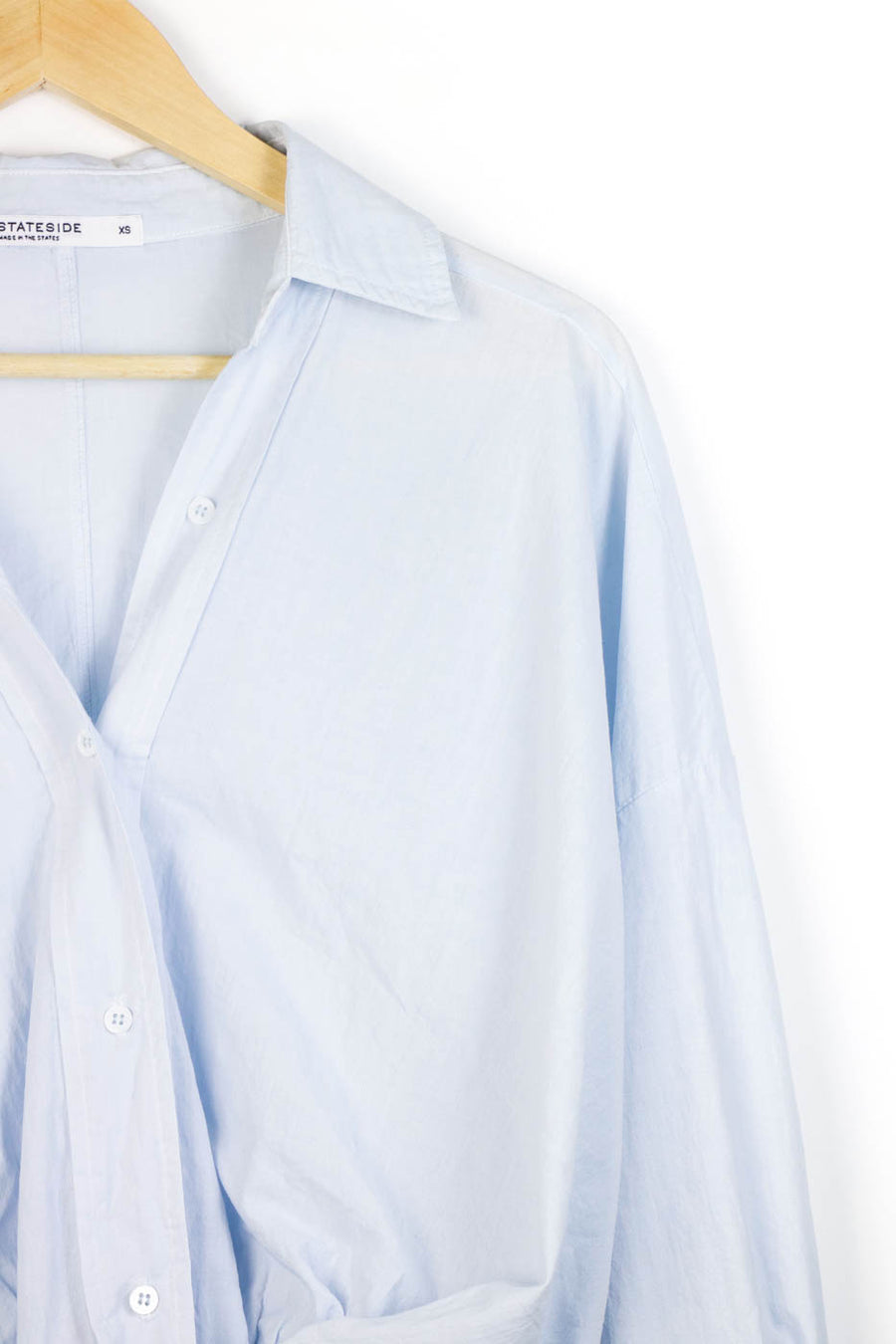 Poplin Long Sleeve Front Twist Shirt, Powder Blue