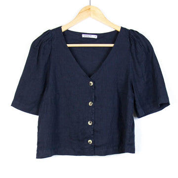 Linen Puff Sleeve Button Up Shirt, Navy