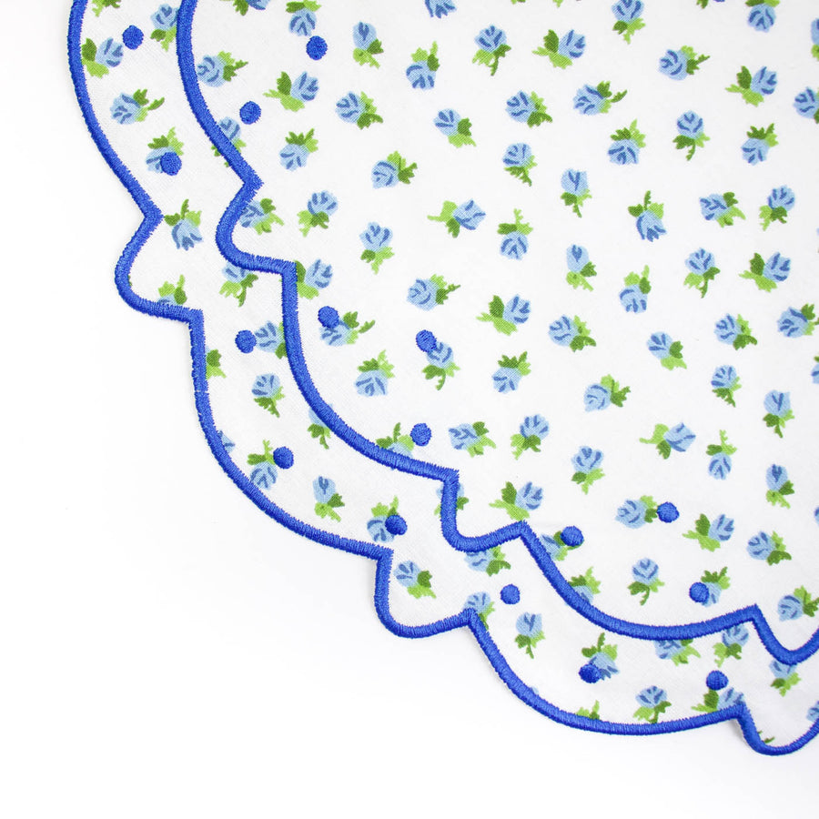 Scalloped Floral Placemat, Blue Rose