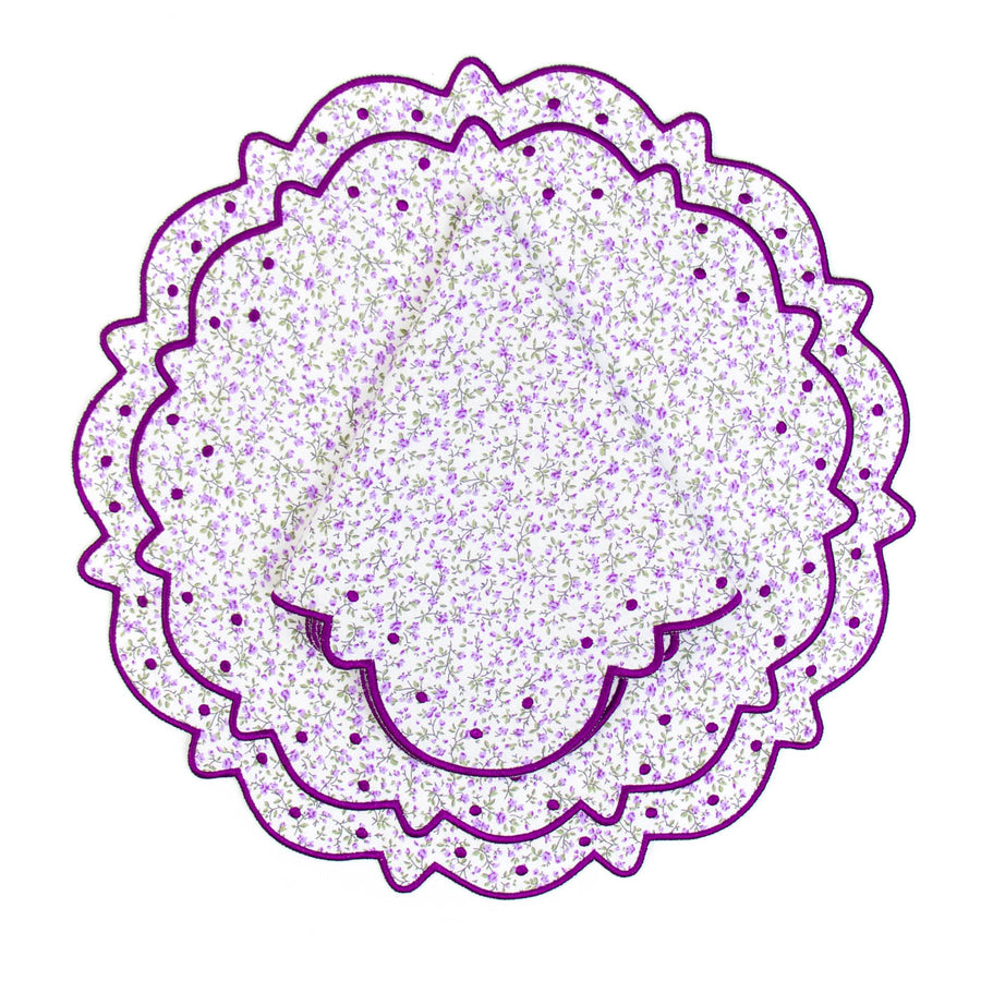 Scalloped Floral Placemat, Purple Liberty