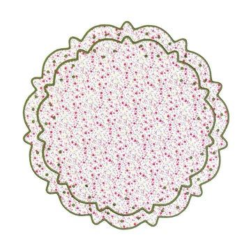 Scalloped Floral Placemat, Pink x Green Liberty