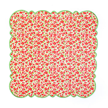 Scalloped Dot Napkin, Red x Green Poppy