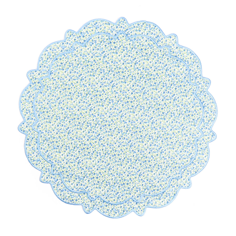 Scalloped Floral Placemat, Blue Liberty
