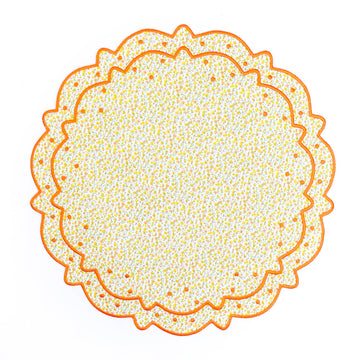 Scalloped Floral Placemat, Yellow x Orange Liberty
