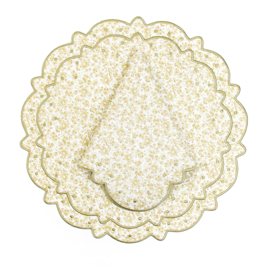Scalloped Floral Placemat, Khaki