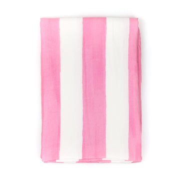 Stripe Linen Tablecloth, Rose Pink