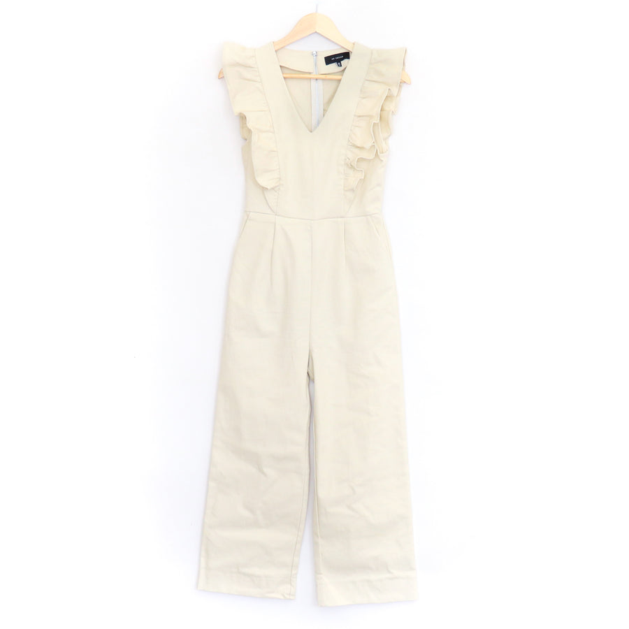 Ruffled Denim Jumpsuit, Natural