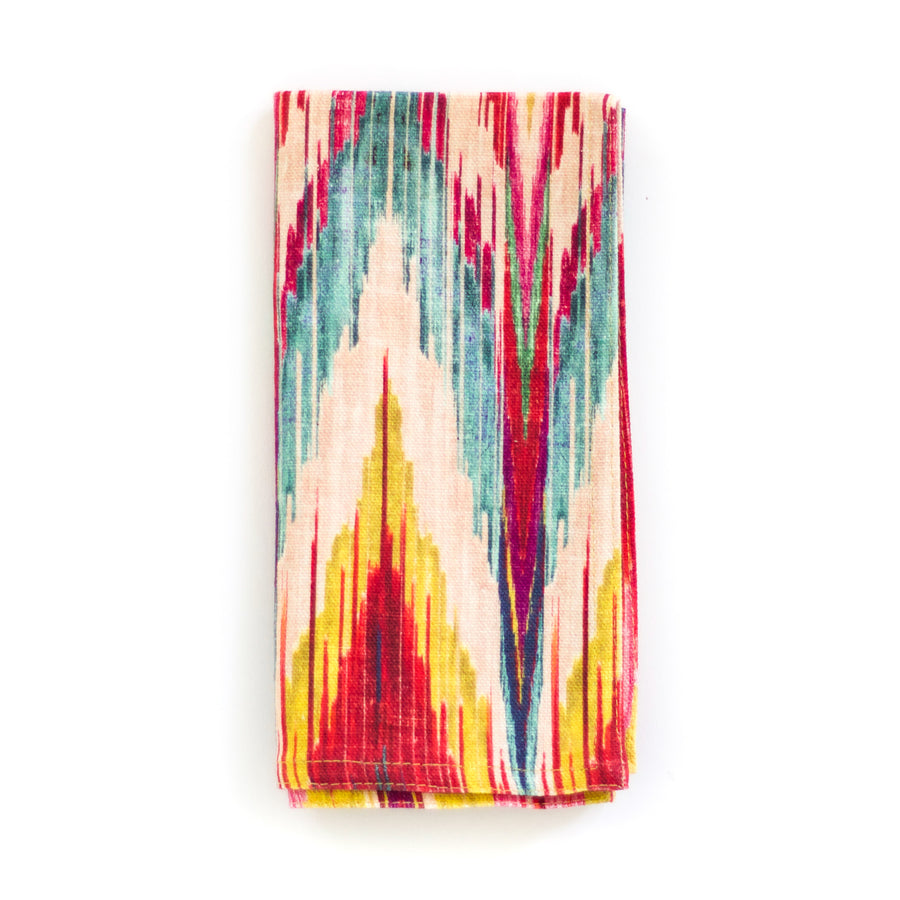 Block Print Ikat Chevron Napkins, Brights