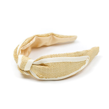 Raffia Knotted Headband with White Trim