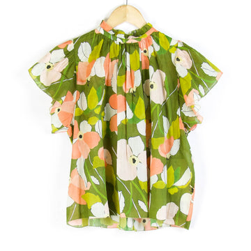 Carla Floral Blouse, Green x Coral