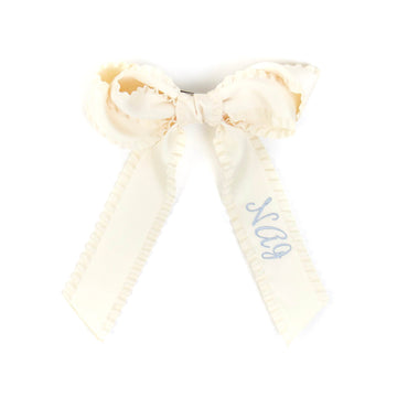 Ruffle Silk Statement Hair Bow, Ivory