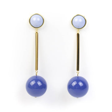 Resin Drop Earrings, Blue x Blue