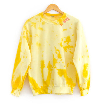 Be Happy Tie-Dye Adult Sweatshirt, Yellow