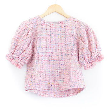Puff Sleeve Top, Pink Tweed