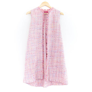 Sleeveless Duster Vest, Pink Tweed