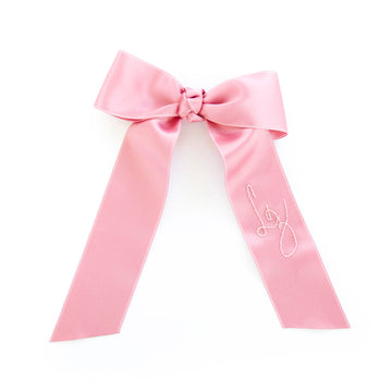 Personalized Silk Bow Barrette, Parisian Pink