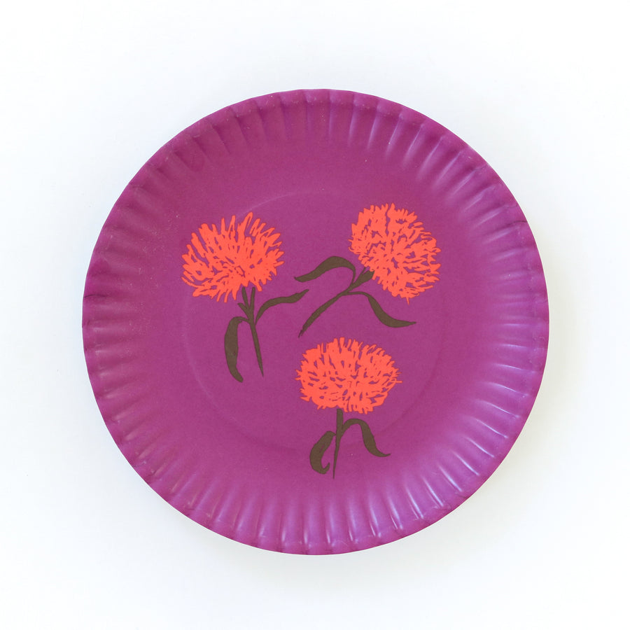 Melamine Snack Plate, Purple Chrysanthemum