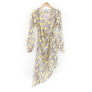 Meg Silk Floral-Print Asymmetrical Wrap Dress