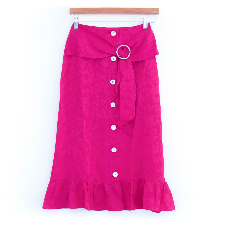 Mara Belted Skirt, Hibiscus Pink