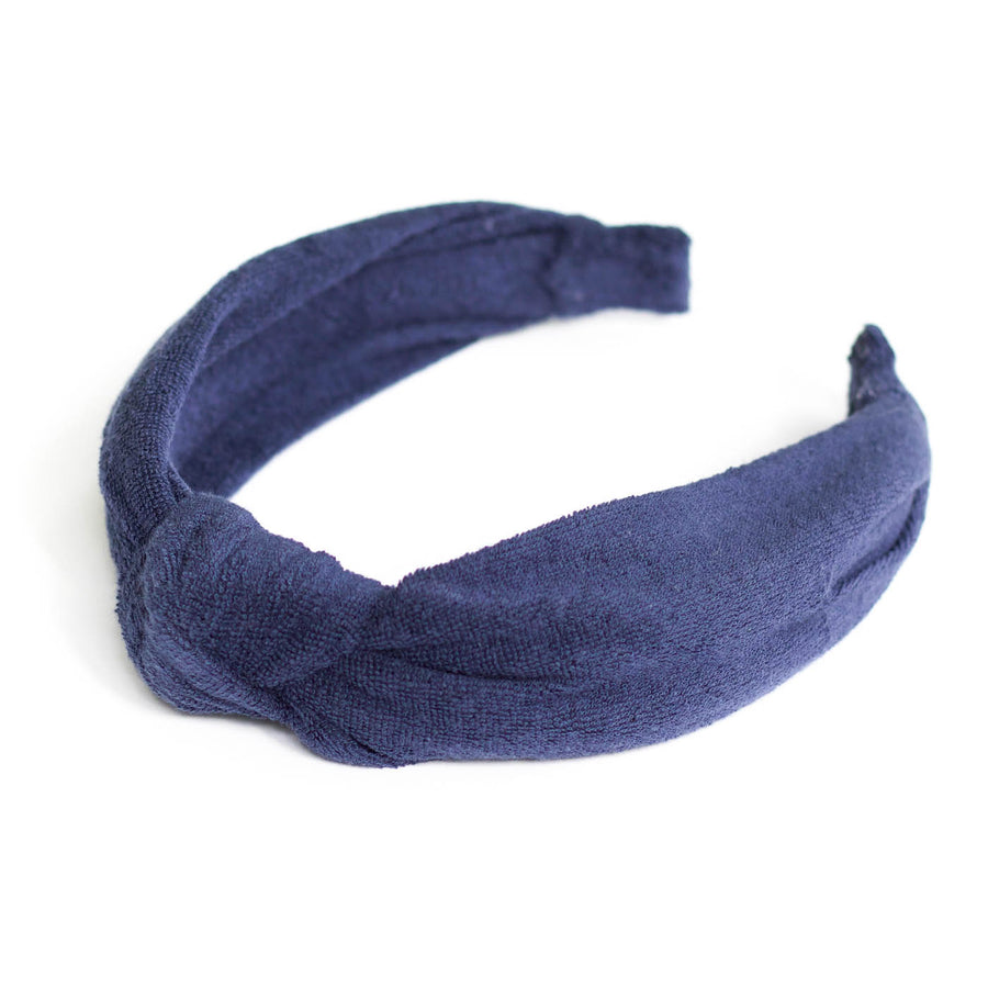 Knotted Towelling Headband, Navy Blue
